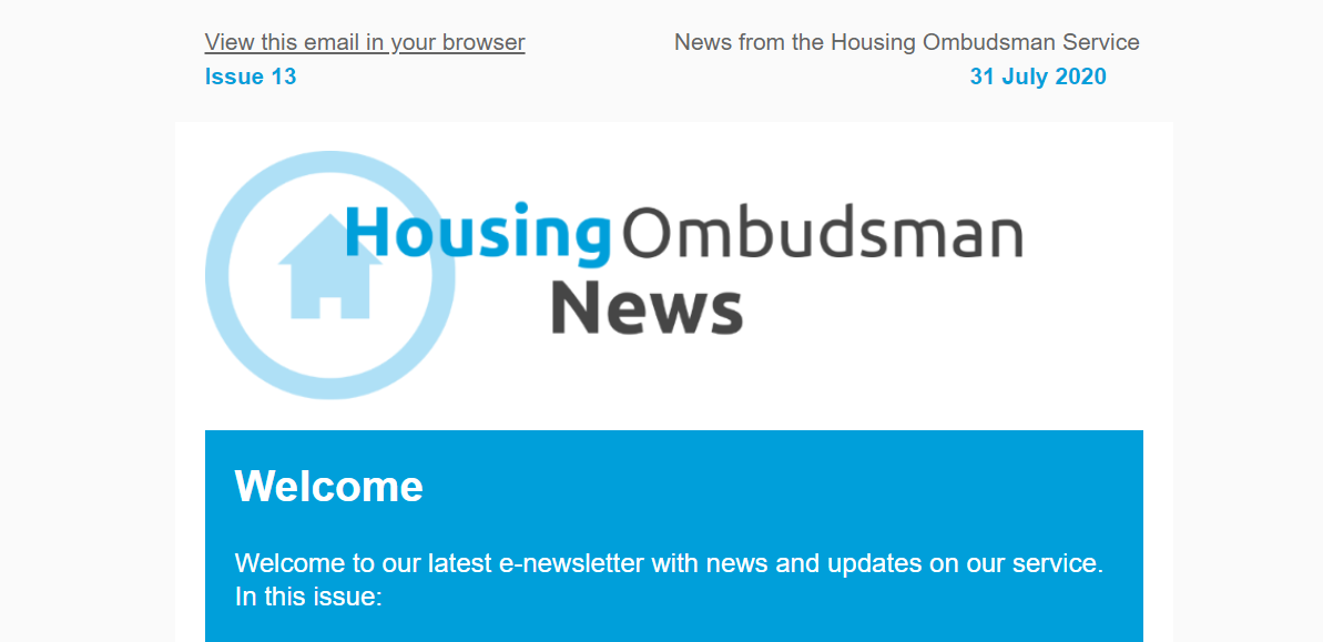 Extract from the newsletter Housing Ombudsman News