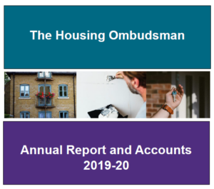 Front cover of the annual report with photographs of housing