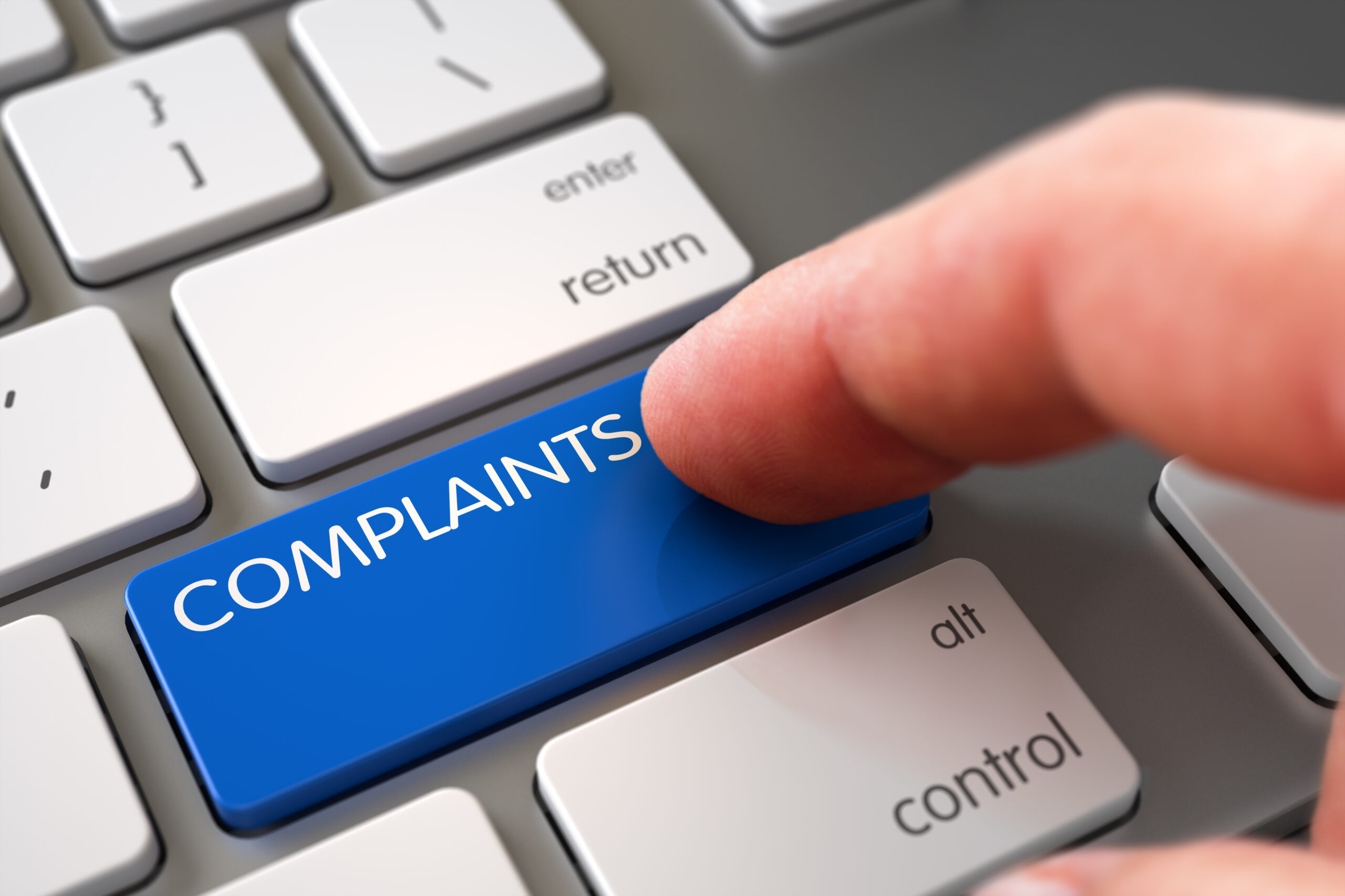Entering complaints on a keyboard
