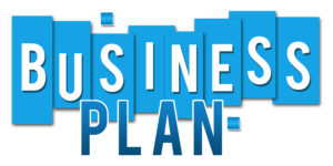 Business plan wording on blue stripes