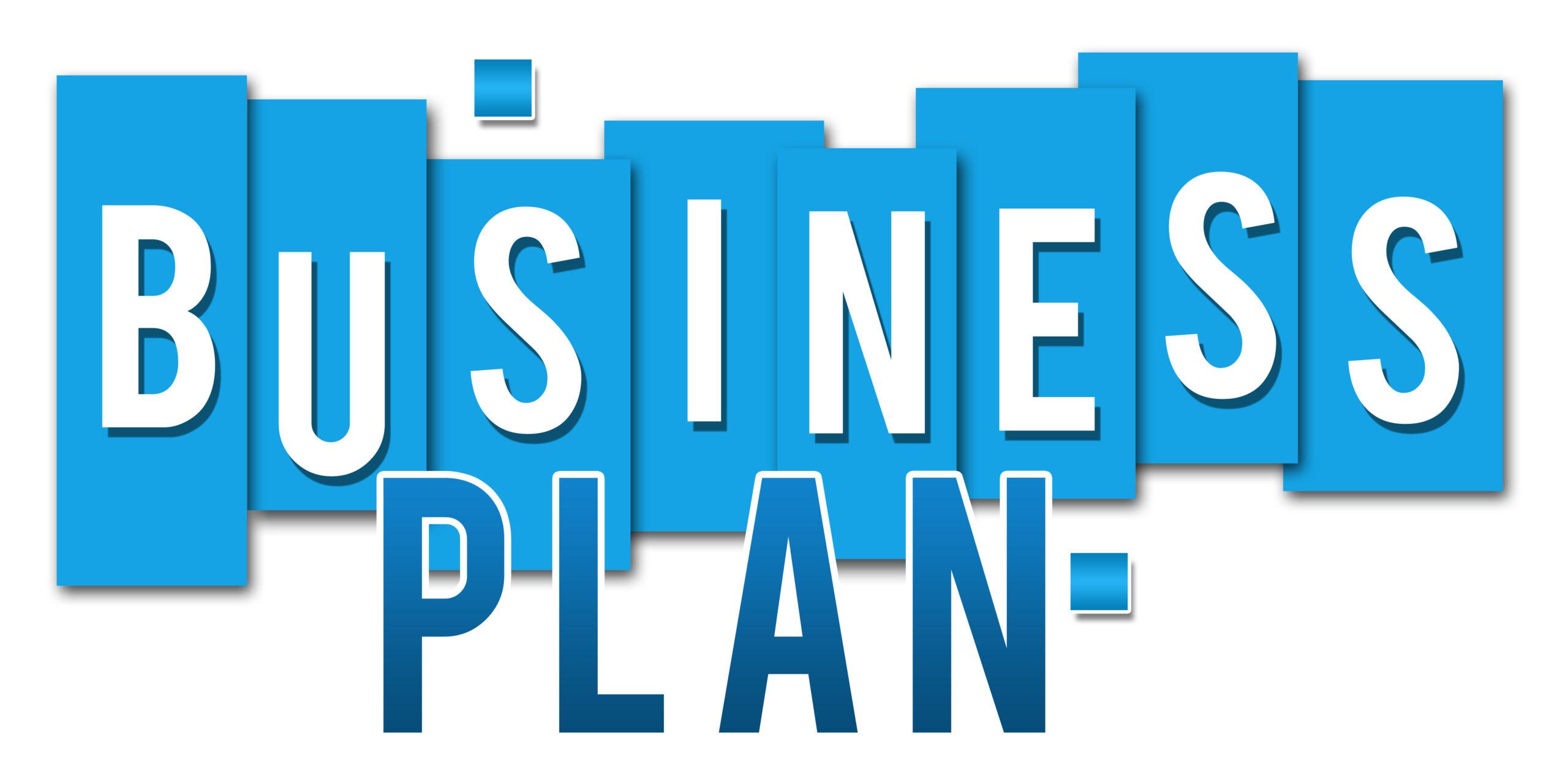 Business plan wording on blue stripes