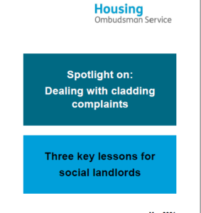 Image of front cover from Housing Ombudsman report on complaints about cladding