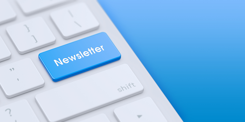Keyboard with blue Newsletter ke