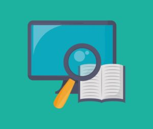 Graphic of computer monitor and magnifying glass