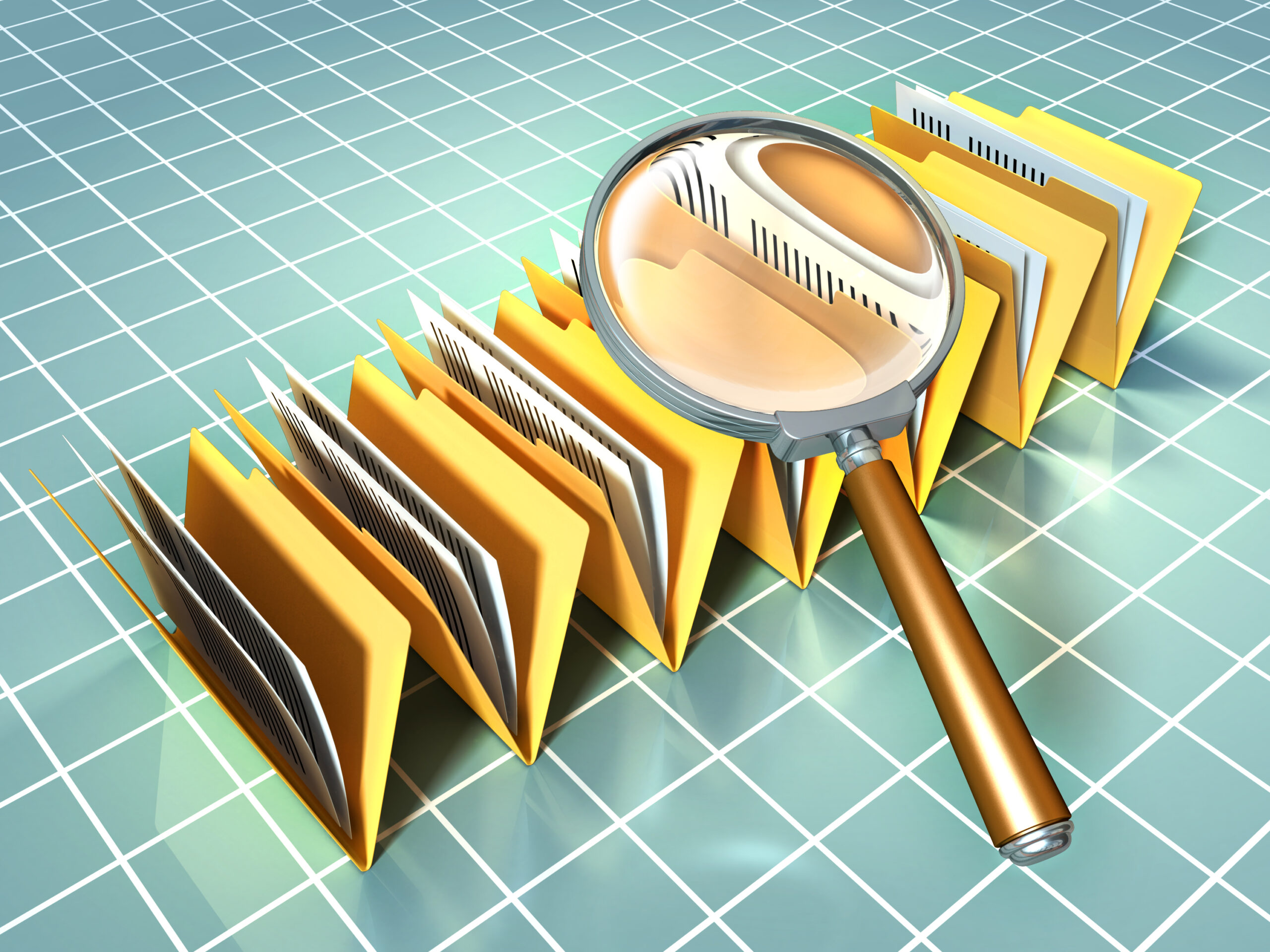 Graphic of files and magnifying glass
